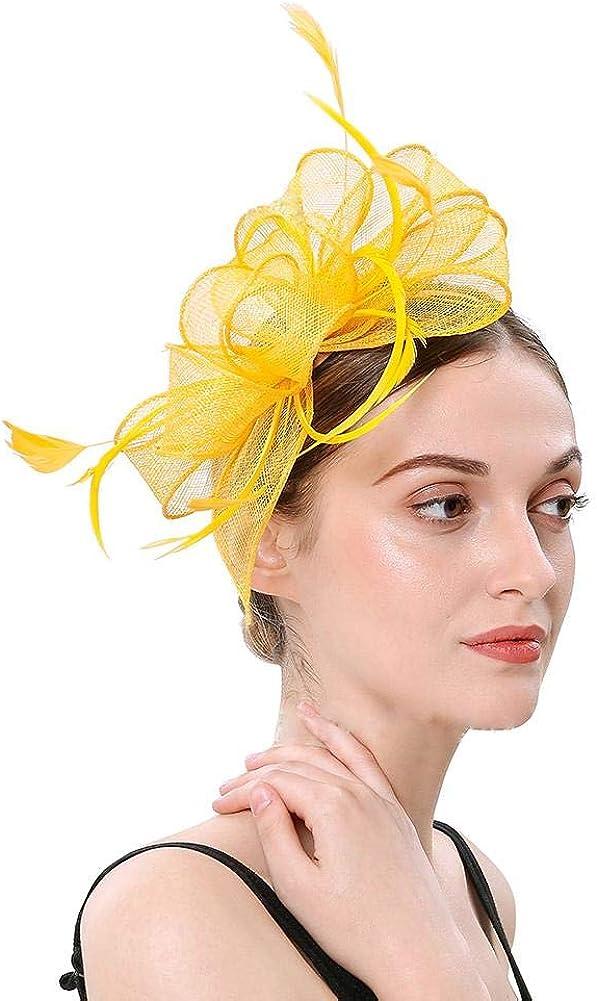 FADVES Women Tea Party Fascinators Hat Headband Kentucky Derby Wedding Cocktail Feather Hats