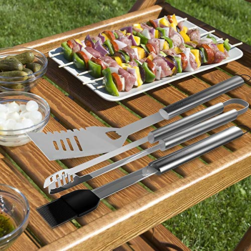 Home-Complete SYNCHKG054408 BBQ Accessories – 16PC Grill Set with Spatula, Tongs, Skewers, Case – Barbecue Tools for Father's Day, Wedding, Anniversary, 16-Piece, Silver