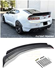 Replacement for 2016-Present Chevrolet Camaro All Models   EOS 1LE Extended Style ABS Plastic Primer Black Add On Rear Trunk Lid Wing with Aluminum Painted Glossy Black WickerBill Spoiler
