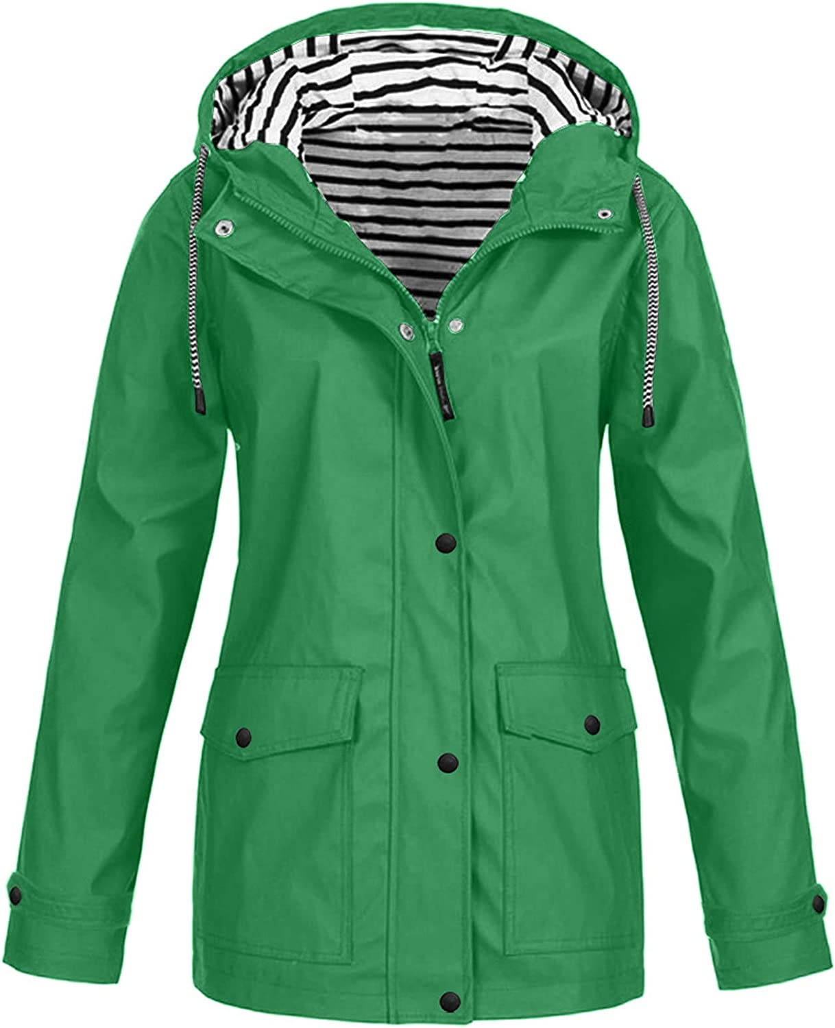 Women's Plus Size Rain Jacket Windproof Windbreaker Casual Comforty Jackets Drawstring Button Solid Coats with Pockets