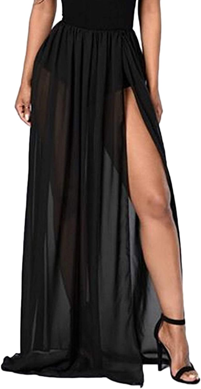 Womens See Through Sheer Mesh Side Split Maxi Skirt Beach Wrap High Waist Cover Ups Swimsuit Sarong Party Club Skirts