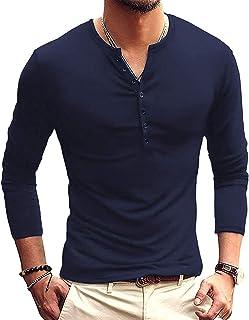 AITFINEISM Men's Casual Slim Fit Basic Henley Long Sleeve T-Shirts