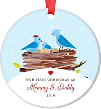 First Christmas as Mommy & Daddy 2019 New Parents Ornament, Bird Family Porcelain Ornament, 3