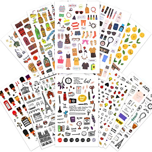 1000Art Cute Korean Stickers Set(12 Sheets / 400+) Planner Stickers for Scrapbooking,Cards,Journals,Planner,Calendars,Album,DIY Arts and Crafts
