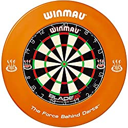 Winmau Dartboard Blade 5 tournament dartboard with Winmau Surround (Orange)