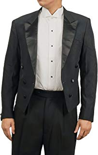 Mens Black Tuxedo with Tails Suit Consists of Pants and Tailcoat