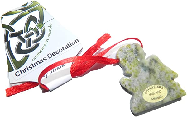 跪着天使康尼马拉大理石圣诞树装饰品手工雕刻
