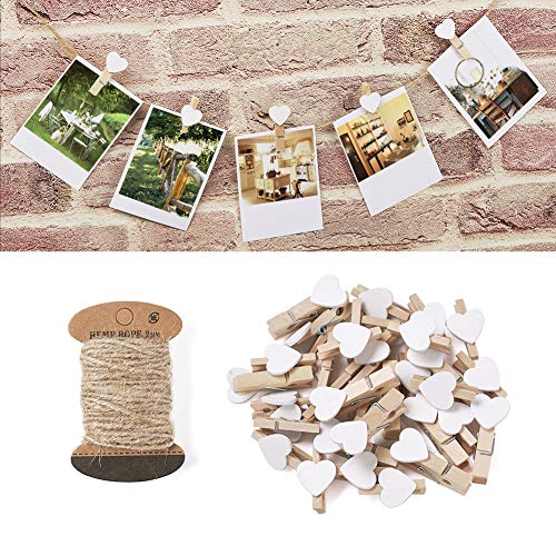 Pandahall 100pcs White Heart Clothespins Wooden Photo Paper Peg Pin Graft Clips with 10.9 Yards Natural Jute Twine for Paper Photo Display Hanging Home Party Decoration