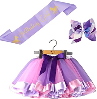 BGFKS Little Girls Tutu Outfit,Layered Ballet Tulle Rainbow Tutu Skirt with Hairbow and Birthday Sash
