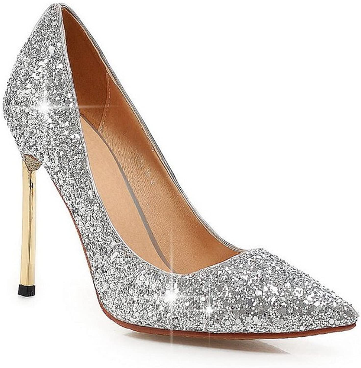 BalaMasa Womens Electroplate Heel Sequin Pull-On Frosted Pumps-shoes