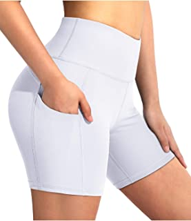 """OMANTIC Women's Yoga Shorts High Waist Stretch Biker Shorts with Side Pockets for Workout Running Training 5"""" Inseam"""