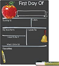 Cohas First Day of School Milestone Board with Basic Designs, Reusable Chalkboard Style Surface, and Liquid Chalk Marker, 9 by 12 Inches, White Marker