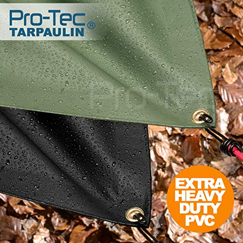 Pro-Tec Garden Products PVC 600gsm Extra Heavy Duty Tarpaulin Waterproof Sheet Lorry Tarp Thick Cover Green 8ft X 16ft