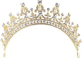 Simplelife Bridal Crown Bridal Princess Crystal Rhinestone Tiara Wedding Prom Crown Comb Veil Headband
