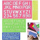 DECARETA 4 piezas Alfabeto Stencil plantilla alfabeto letras número artesanal plantillas de plástico regla conjunto de guías Normographer Stencil Kit para letras y números para niños y estudiantes