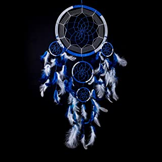 Caught Dreams Dream Catcher ~ Handmade Traditional Royal Blue and White 8.5 inch Diameter & 24 inches Long!
