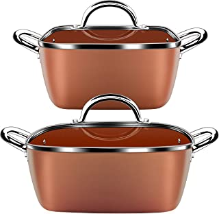 Lightning Deal Classic Induction Cookware Set, Cooking Pot and Pan Set,Non-stick Square Casserole, Dishwasher Safe, Oven Safe, PFOA Free, Carnival, Orange, 4 Pieces