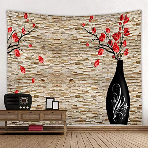 KHKJ Florero Impreso en la Pared de Piedra Tapiz Colgante Tapiz de Gran tamaño tapices Hippie Boho Baratos Tela de Mandala A9 95x73cm