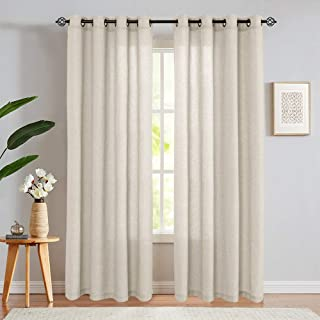 jinchan Linen Cotton Blend Curtains for Living Room Long Window Curtains Privacy Flax Linen Look Window Treatment Set for ...