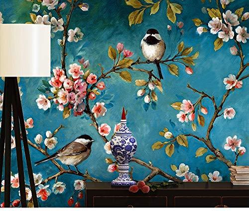 Tapete Fototapete Vlies Tapete 3D Tapeten Retro Ölgemälde Stil Chinesische Blumen Und Vögel Tapete Wohnzimmer Schlafzimmer Tv Hintergrundbild Wandbild