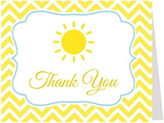 Sun Thank You Cards Baby Shower Bright Yellow Summer Fun Spot of Sunshine Sun Blue Birthday Party Polka Dots Chevron Stripes White Sprinkle Boys It's A Boy (50 Count)