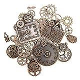 KIMI-HOSI - Juego de 40 piezas mixtas de metal steampunk Cyberpunk, piezas de reloj de metal con forma de cara