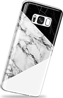 VIVIBIN for Samsung Galaxy S8 Case,Black and White Marble Scratch Resistant Silicone TPU Cover with Clear Bumper Slim Fit Protective Phone Case for Samsung Galaxy S8 5.8 inch