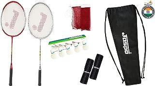 Jaspo GT 303 Pro Red/Sliver Badminton Set(2 Badminton Racket and 5 Feather Shuttle Cork,1 Carry Bag,1 Grip,1 Badminton net)