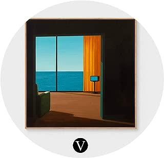 クリエイティブアールデコ絵画現代のリビングルームのポーチ絵画北欧レストラン寝室の壁の絵画,Vセクション,60X60CM(ゴールデンフレーム)