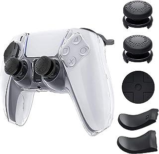 Funda protectora transparente para el controlador PS5Funda de cristal con tapas de agarre para el pulgar y paquete de e...