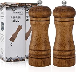 Pepper Grinder, 2 Pack 5 Inch Pepper and Salt Mill Grinder Set Oak Wood Pepper Shaker with Ceramic Adjustable Coarseness Grinder