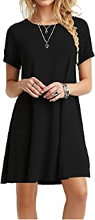 VIISHOW Women's Summer Basic Long Sleeve Casual Loose T-Shirt Dresses