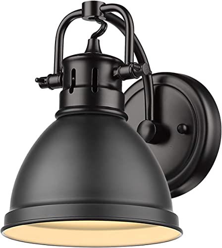 """2021 Golden 2021 Lighting 3602-BA1 popular BLK Duncan Bath Vanity, 8.25""""L x 6.5""""W x 8.5""""H, Matte Black with a Matte Black Shade outlet online sale"""