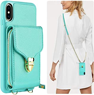iPhone Xs Max Wallet Case, JLFCH iPhone Xs Max Zipper Leather Case with Card Slot Holder Closure Buckle XS Max Crossbody Purse Handbag Wrist Strap Cover for Apple iPhone Xs Max 6.5 inch - Mint Blue