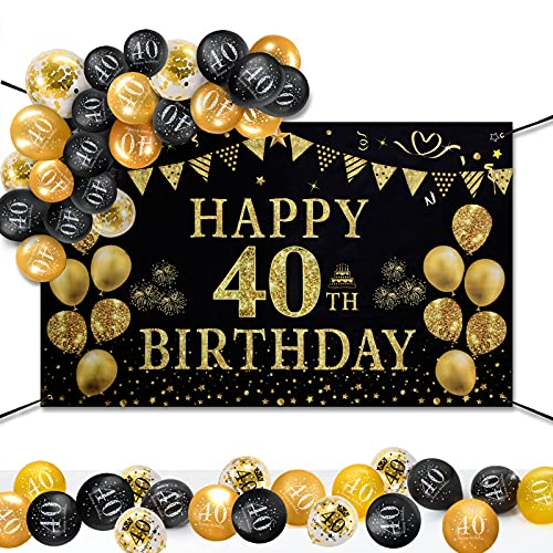 GuKKK 40 Años Decoración de Fiesta de Cumpleaños de Oro Negro, 40 Pancarta Feliz Cumpleaños, 15 Pcs Globos de Cumpleaños, Fondo Foto Cumpleaños, Póster de Tela Cartel Extra Grande para Niños Niñas