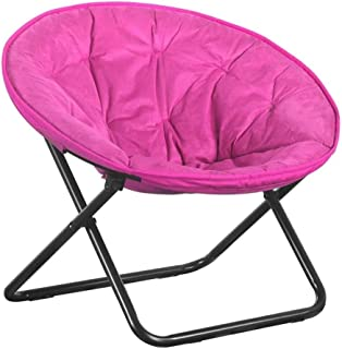 LLRYN Red Lounger Sofa,Foldable Steel Frame Soft and Wide Seat Saucer Chair Watching TV Reading Lunch Break Outdoor Travel
