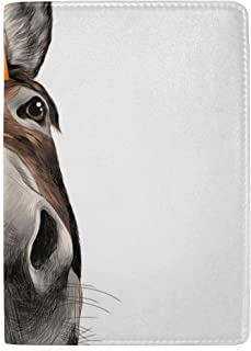 Smiling Farm Donkeys, Mammals Blocking Print Passport Holder Cover Case Travel Luggage Passport Wallet Card Holder Made with Leather for Men Women Kids Family