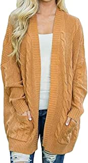 Womens Loose Open Front Long Sleeve Knit Cardigans Bat Sweater with Pockets