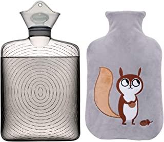 SAMPLY Transparent Hot Water Bottle- 2 Liter Water Bag with Cute Fleece Cover, Grey Squirrel