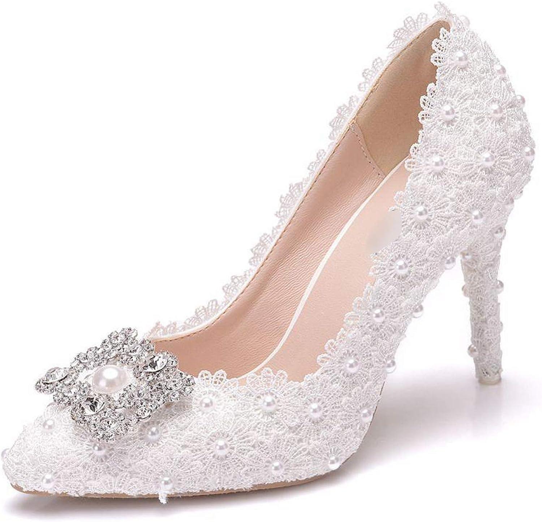 Sunny Doll Women High Heels Pumps Fashion 2019 Lace Pearl Heeled Wedding shoes Bride Elegant Ladies shoes 9.5CM
