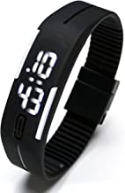 Top Plaza Simple Gel Rubber Bracelet Touch Screen White LED Digital Display Unisex Sports Watch - Black
