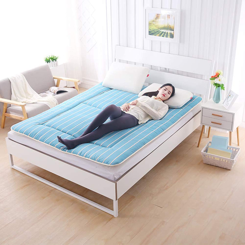 Breathable Japanese Traditional futon Mattress,Ultra Soft Portable Non-Slip Floor mat Sleeping pad Student Dormitory-Green Full 120x200cm(47x79inch)