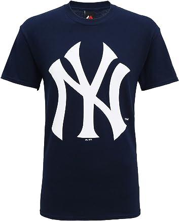 431820c60ff1c6 Official New York Yankees Baseball Large Logo T-Shirt, Navy Blue, XL