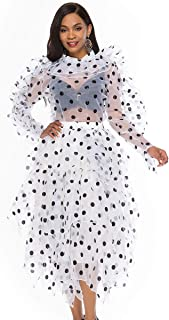 Women's Polka Dot 2 Piece Sets Dress Transparent Ruffle Top Blouses Tulle Midi Puffy Skirt