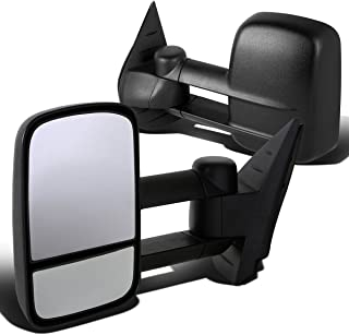 For Silverado/Sierra GMT900 Pair of Telescopic Extended Arm Rear View Manual Folding Towing Side Mirror (Black)