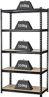 TOOLCRAFT 1530556 Zwaarlaststelling 350 kg (b x h x d) 900 x 1800 x 450 mm Metaal, MDF Hout Zwart