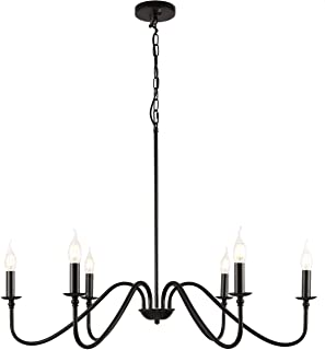 6-Light Modern Industrial Iron Chandeliers,Large Diam...