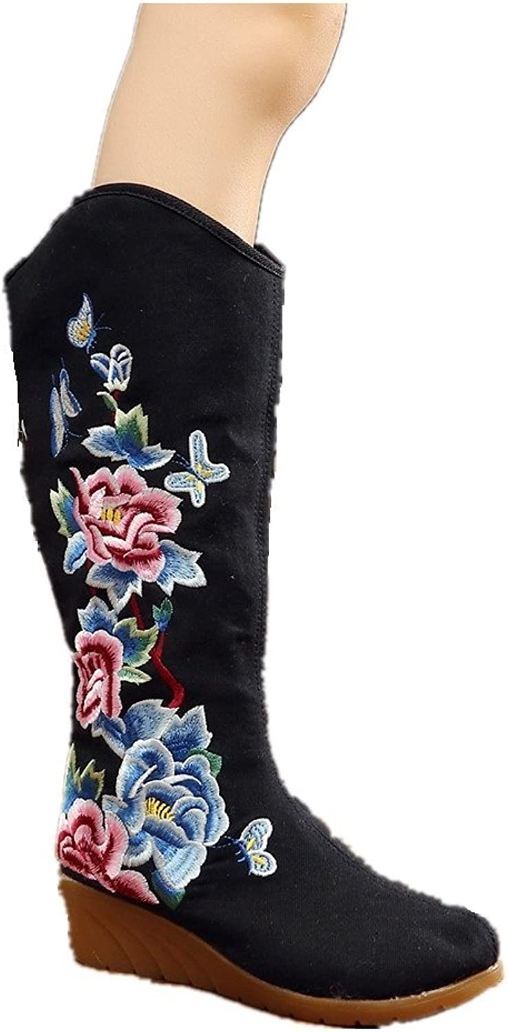 Tianrui Crown Women and Ladies The The Butterfly Peony Embroidery Mid-Calf Boots shoes