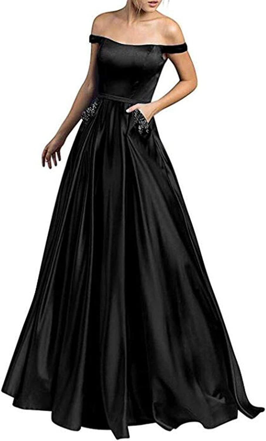 Alilith.Z Sexy Off The Shoulder Satin Prom Dresses Long Formal Evening Dress Party Gowns for Women with Beaded Pockets