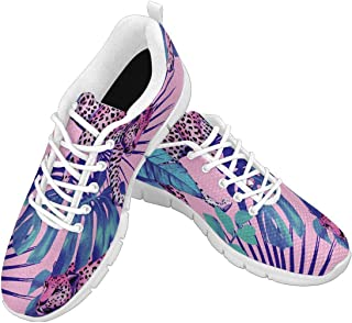 Zenzzle Womens Running Shoes Leopard and Tropical Plants Print on Casual Lightweight Athletic Sneakers Size US6-12